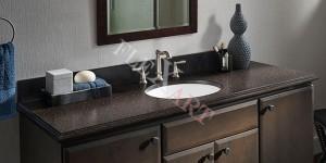 Простая прямоугольная столешница для ванной с фигурной кромкой