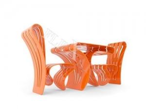 Стол и стулья из искусственного камня